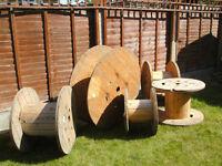 large wooden reels
