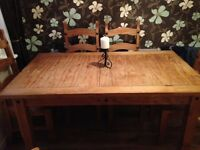 Corona pine dining table and 6 chairs