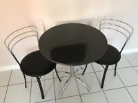 Marble top 70cm bistro table, with 2 chairs