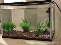 Aquaruim - Fish water tank (New) 24L with plants and stones