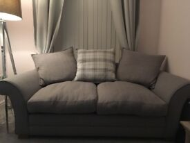 Two grey 2 seater sofas