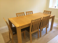 Extending dining table and 6 chairs from John Lewis