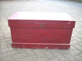 Antique Victorian Painted Solid Wood Pine Kist Trunk Chest Box