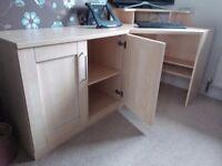 Light wood corner desk and cupboard