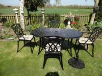 LARGE CAST ALUMINIUM GARDEN SET ---TABLE WITH 4 CHAIRS --CUSHIONS -- AND PARASOL BASE --