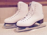 White Leather Ice Skates and Bag