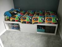 Single cabin bed white wood