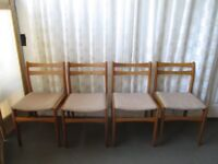 SET OF FOUR WOODEN RETRO STYLE DINING CHAIRS