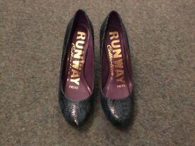 NEXT ladies court shoes - Petrol blue & black. Size 4. Worn once.