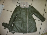 Girls winter coat. Fur lined + Mittens attatched to cuff. Age 4/5 + Waterproof Gelert pink anorak