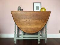 Oak Gate Leg Table / Solid Drop Leaf Console Table