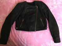 Genuine leather biker jacket - black >50% OFF