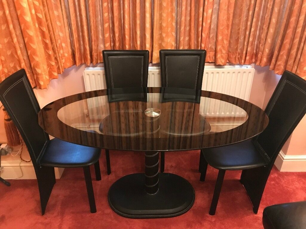 Seconique cameo oval dining table set with 4 chairs black