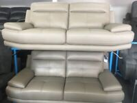 NEW - EX DISPLAY SOFOLOGY GREY LEATHER ISLINGTON 3 SEATER SOFAS SOFA 70% Off RRP 70%