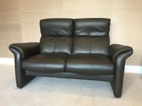 Chocolate Brown Leather Two Seater Reclining Sofa