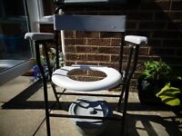 2 NEW CONDITION WHEELCHAIRS, 1 METAL WALKING FRAME AND 1 COMMODE SEAT FOR SALE