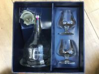 Exclusive Crystal Glass handmade Cognac Set: Carafe and 2 glasses, brandnew/ boxed