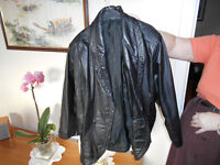 AS new Womans leather Jacket in Black, single button style Size 14