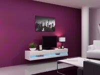 High Gloss TV Stand Cabinet LED Light Choice Floating Wall Unit 180cm white new