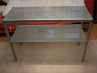 Glass and Steel Console Table modern with shelf