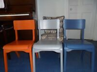4 small( childrens) wooden painted chairs