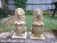 Pair of lions with shields £45.00