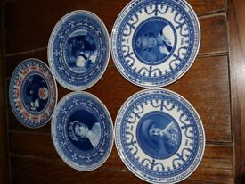 5 Royal image Wedgewood commerative plates, one including Winston Churchill.