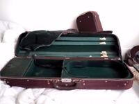 Pair 2 X Roland Baumgartner Switzerland Violin Size 4/4 Canvas Covered Wood Hard Cases x 2 Cases