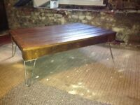 Industrial farmhouse coffee table with hairpin legs