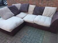 Brown and grey corner sofa in very good condition