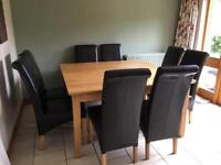 Solid Oak Square Dining Table with 8 Brown Faux Leather High Back Chairs