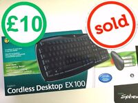 Wireless Keyboard & Mouse ( Spill Proof ) - Logitech EX 100 Cordeless Desktop Excellent Condition !