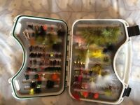Trout and salmon tackle rod reel and flys