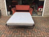 2 Seater fabric tartan sofa bed
