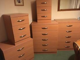 Pine ikea Bedroom furniture, chest of drawers, bed side table