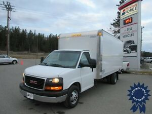 2015 GMC Savana 3500 16 ft Cube Van w/Loading Ramp, 17,911 KMs