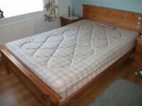 Pine Double bed and 3 draw cabinet for sale.