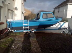boat (16ft fiberglass)with trailer + rods and life jackets