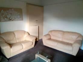 3 + 2 leather sofas