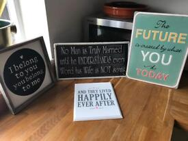 6 signs - use for decoration or rustic wedding theme
