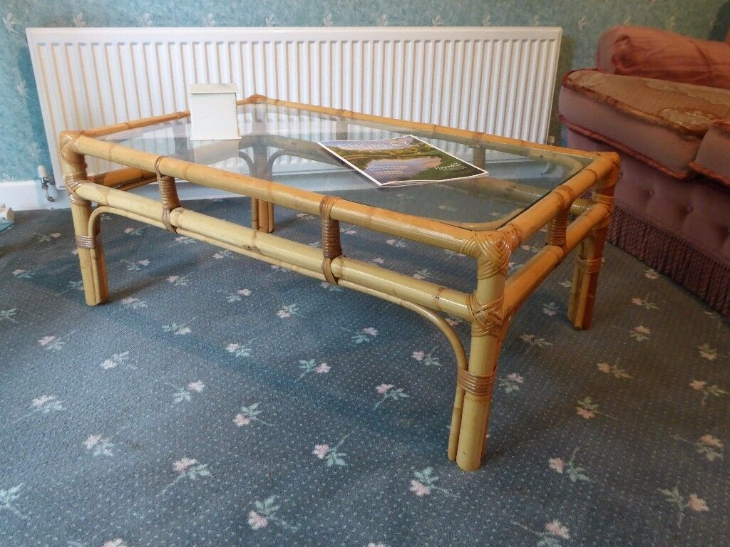 WICKER RATTAN GLASS TOPPED COFFEE TABLE