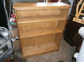 PINE BOOKCASE BOOK SHELVES WITH ADJUSTABLE SHELEVES OLD CREAMERY STYLE IN YEOVIL