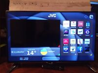 Brand new 40''JVC smart TV 4K ultra HD box remote and stand