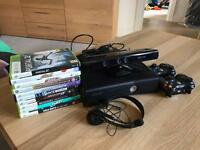Xbox 360 250gb with Kinect, 2 controllers, headset and 10 games