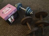 @SET OF 3 DUMBBELLS PLUS BRAND NEW YOGA BALL@