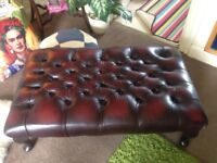 """Vintage Chesterfield XL leather oxblood red footstool 37"""" length/22"""" wide/12"""" height superb conditio"""
