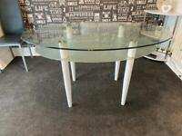 White and glass table