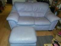 2 SEATER LEATHER SOFA & POUFFE
