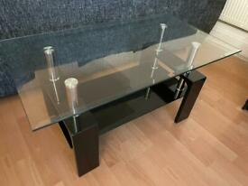Black glass living room table