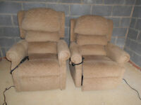 2x matching electric riser recliner chairs
